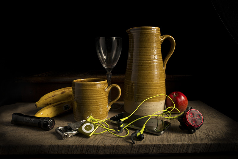 Contemporary still life of pots and cycling kit. Copyright Glyn Ryland