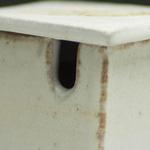 Stoneware square sauce pot.  Ryland Pottery